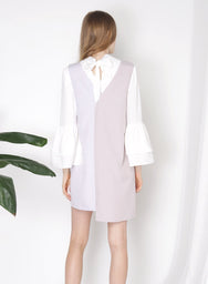 PENCHANT Two Tone Dress (Lilac Grey) - And Well Dressed