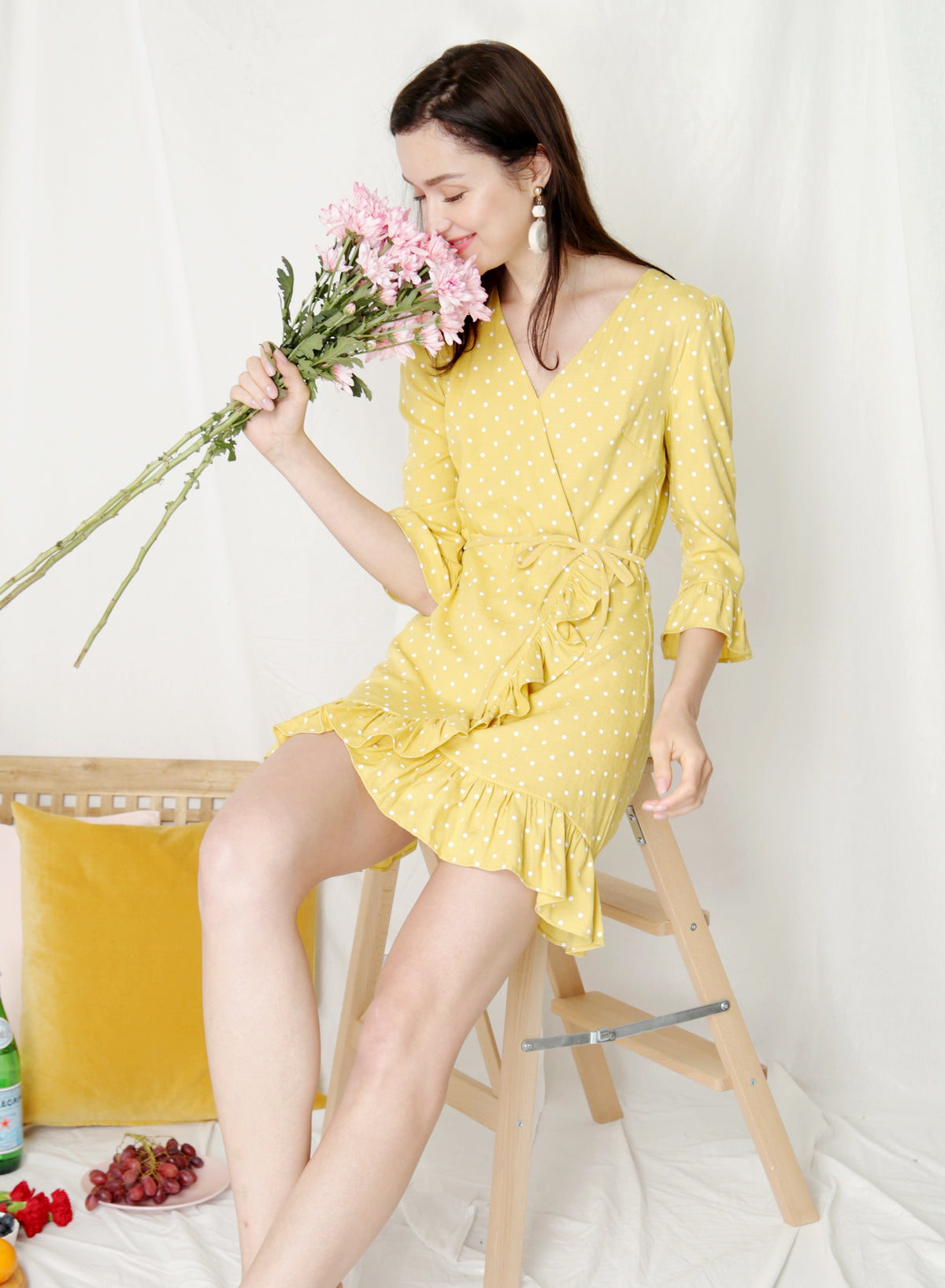 Treasure Ruffle Hem Wrap Dress (Yellow Polka) at $ 42.90 only sold at And Well Dressed Online Fashion Store Singapore