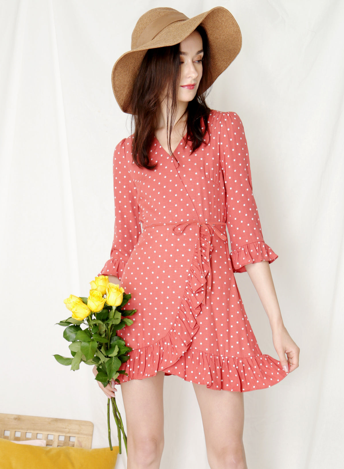 Treasure Ruffle Hem Wrap Dress (Rose Polka) at $ 42.90 only sold at And Well Dressed Online Fashion Store Singapore