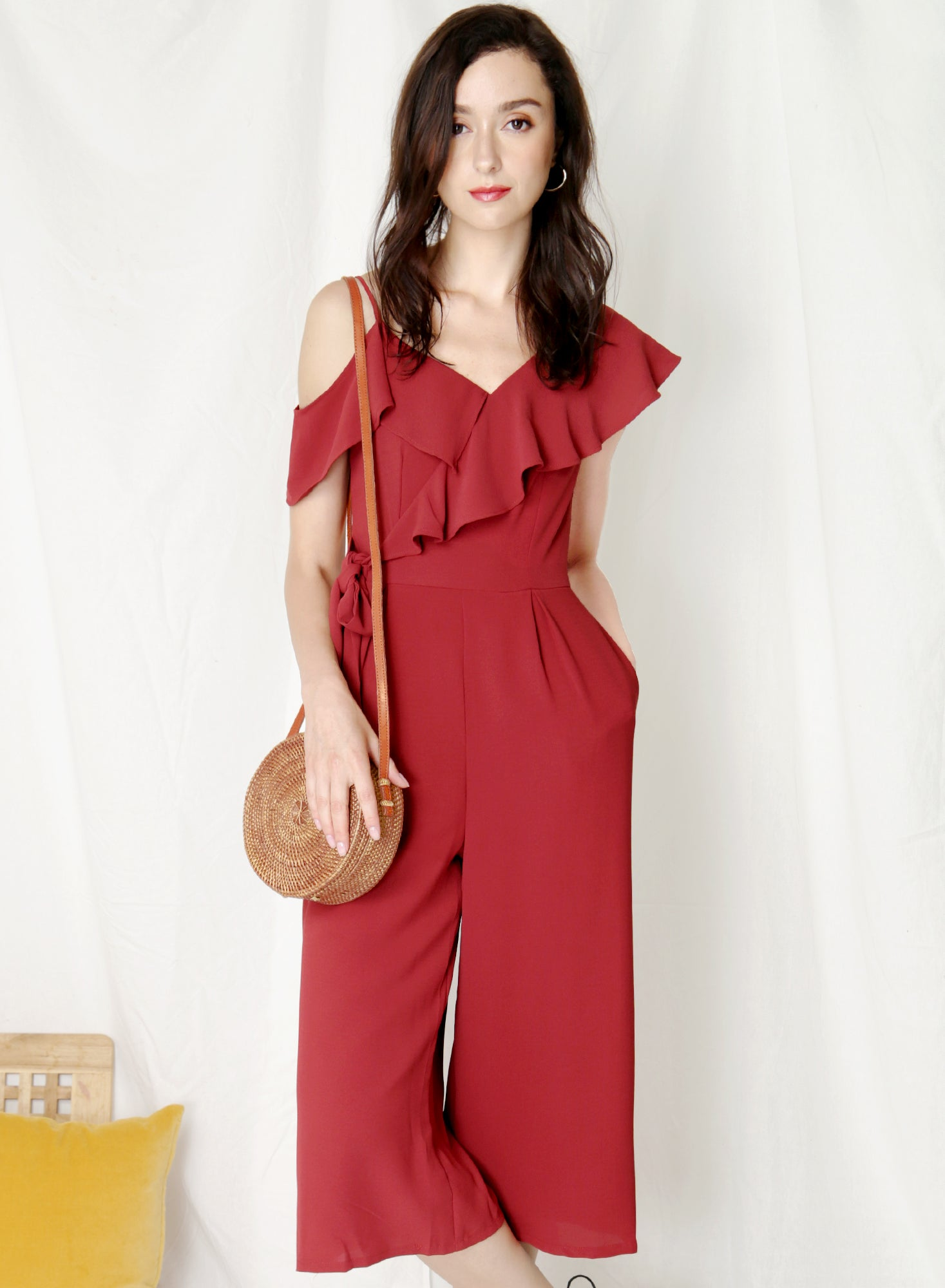 Moonshine Asymmetric Ruffle Jumpsuit (Cherry) at $ 43.50 only sold at And Well Dressed Online Fashion Store Singapore