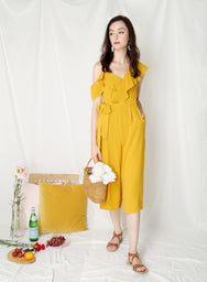 Moonshine Asymmetric Ruffle Jumpsuit (Marigold) at $ 43.50 only sold at And Well Dressed Online Fashion Store Singapore