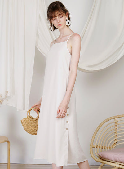 Sanctuary Button Sides Dress (Ecru)