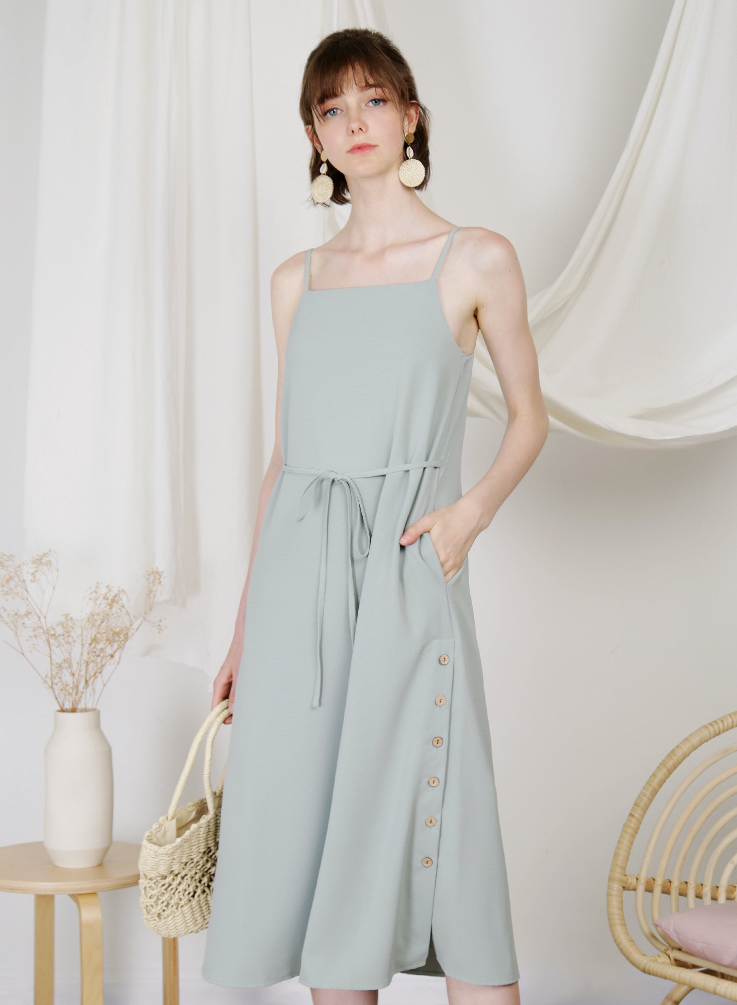 Sanctuary Button Sides Dress (Sage)