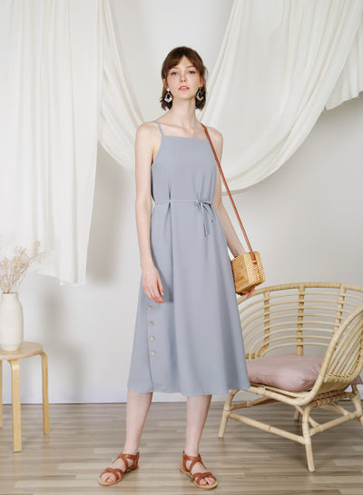 Sanctuary Button Sides Dress (Dusk Blue) at $ 48.00 only sold at And Well Dressed Online Fashion Store Singapore