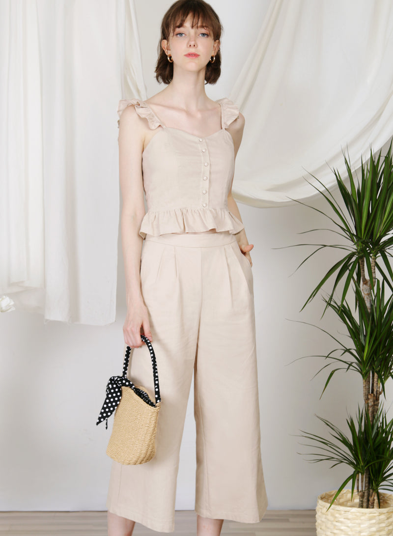 Journey Flared Linen Pants (Biscotti)