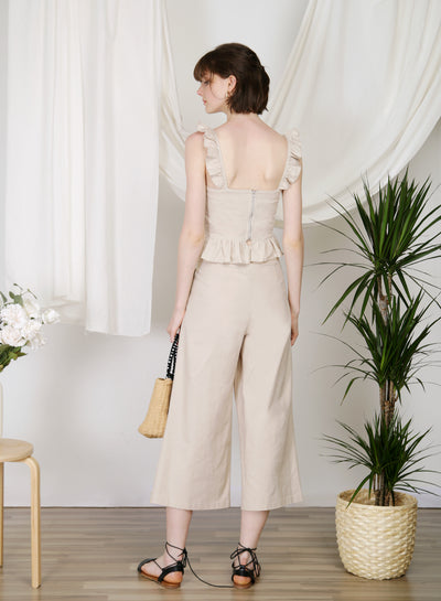 Journey Flared Linen Pants (Biscotti) at $ 38.00 only sold at And Well Dressed Online Fashion Store Singapore