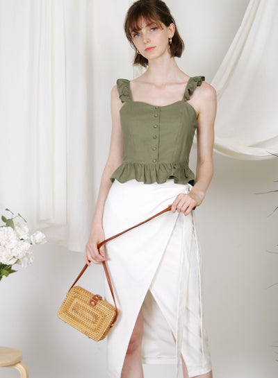 Maison Frill Straps Peplum Top (Moss) at $ 36.50 only sold at And Well Dressed Online Fashion Store Singapore
