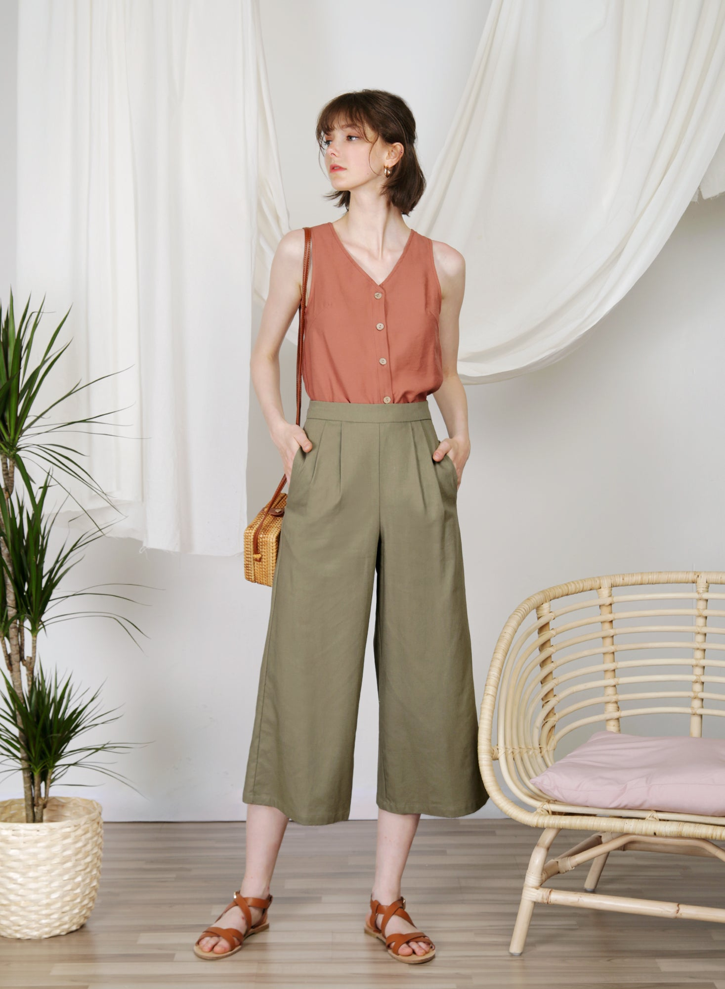 Journey Flared Linen Pants (Olive) at $ 38.00 only sold at And Well Dressed Online Fashion Store Singapore