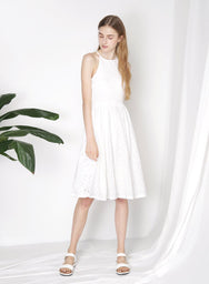 AURORA Eyelet Flared Dress (White) at $ 25.00 only sold at And Well Dressed Online Fashion Store Singapore