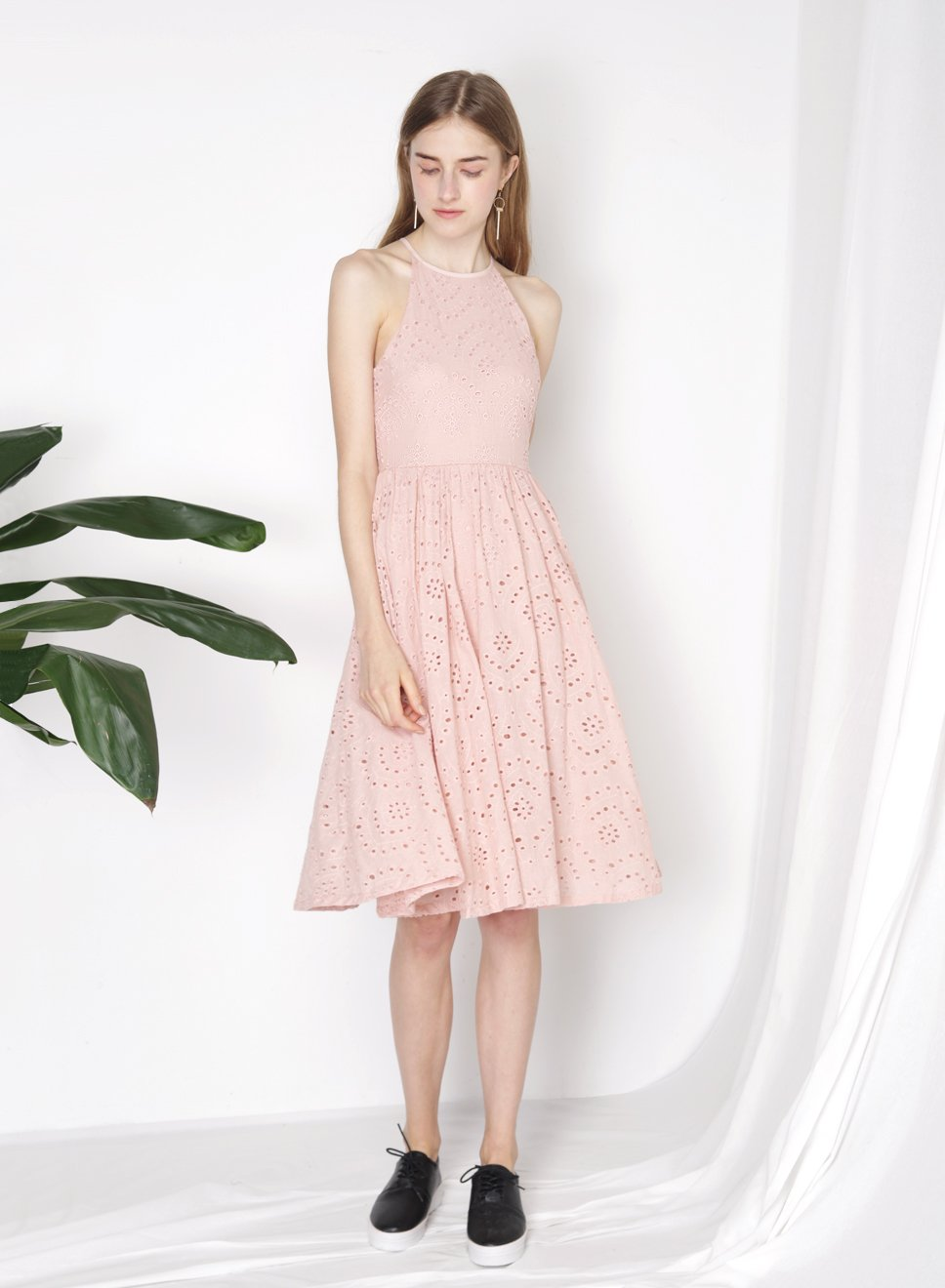 AURORA Eyelet Flared Dress (Blush) at $25.00 only sold at And Well Dressed Online Fashion Store Singapore