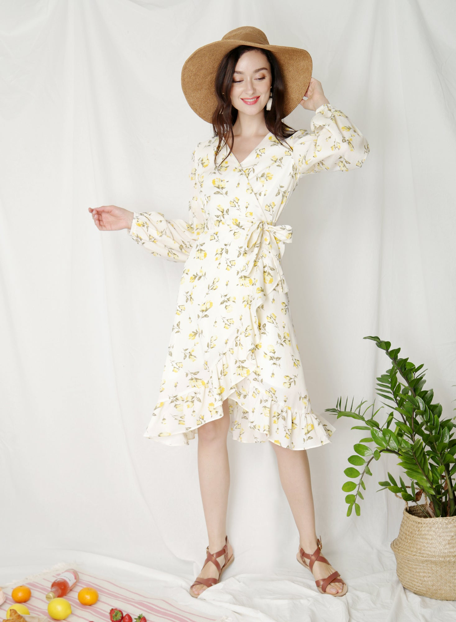Atlas Midi Wrap Dress (Floral) at $ 43.50 only sold at And Well Dressed Online Fashion Store Singapore