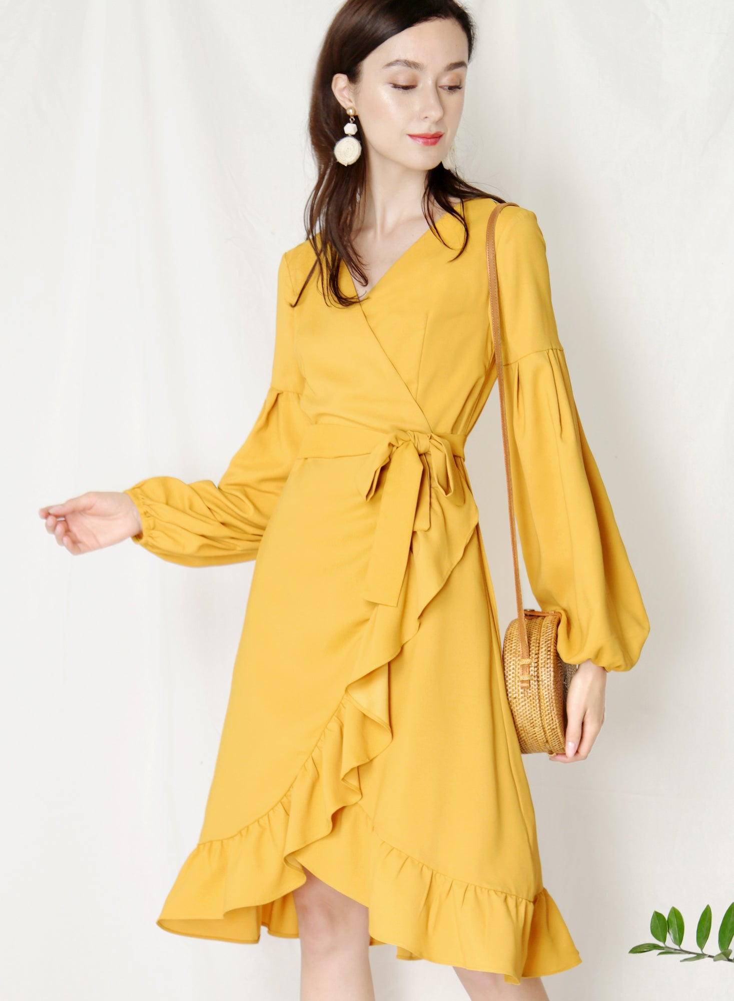 Atlas Midi Wrap Dress (Marigold)