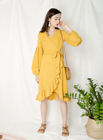 Atlas Midi Wrap Dress (Marigold) - And Well Dressed
