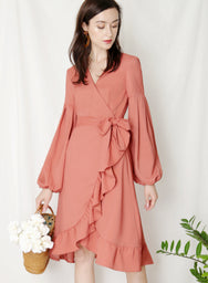 Atlas Midi Wrap Dress (Tan Rose) at $ 43.50 only sold at And Well Dressed Online Fashion Store Singapore