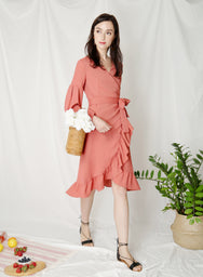 Atlas Midi Wrap Dress (Tan Rose)