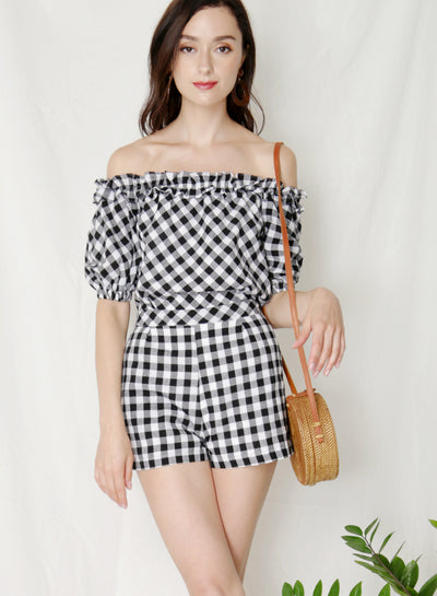 Kismet Off Shoulder Frill Romper (Navy Gingham) - And Well Dressed