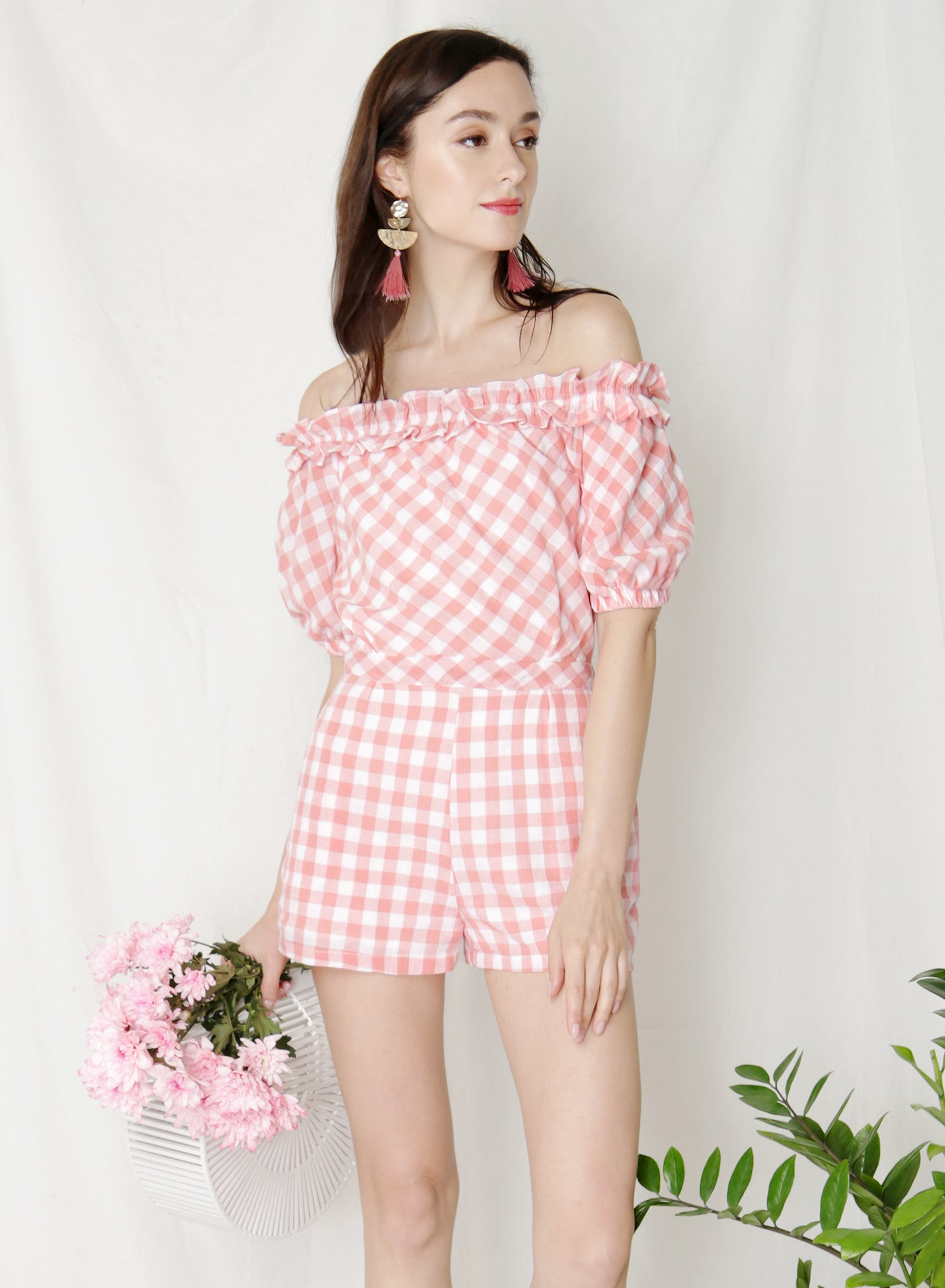 Kismet Off Shoulder Frill Romper (Pink Gingham) at $ 41.50 only sold at And Well Dressed Online Fashion Store Singapore