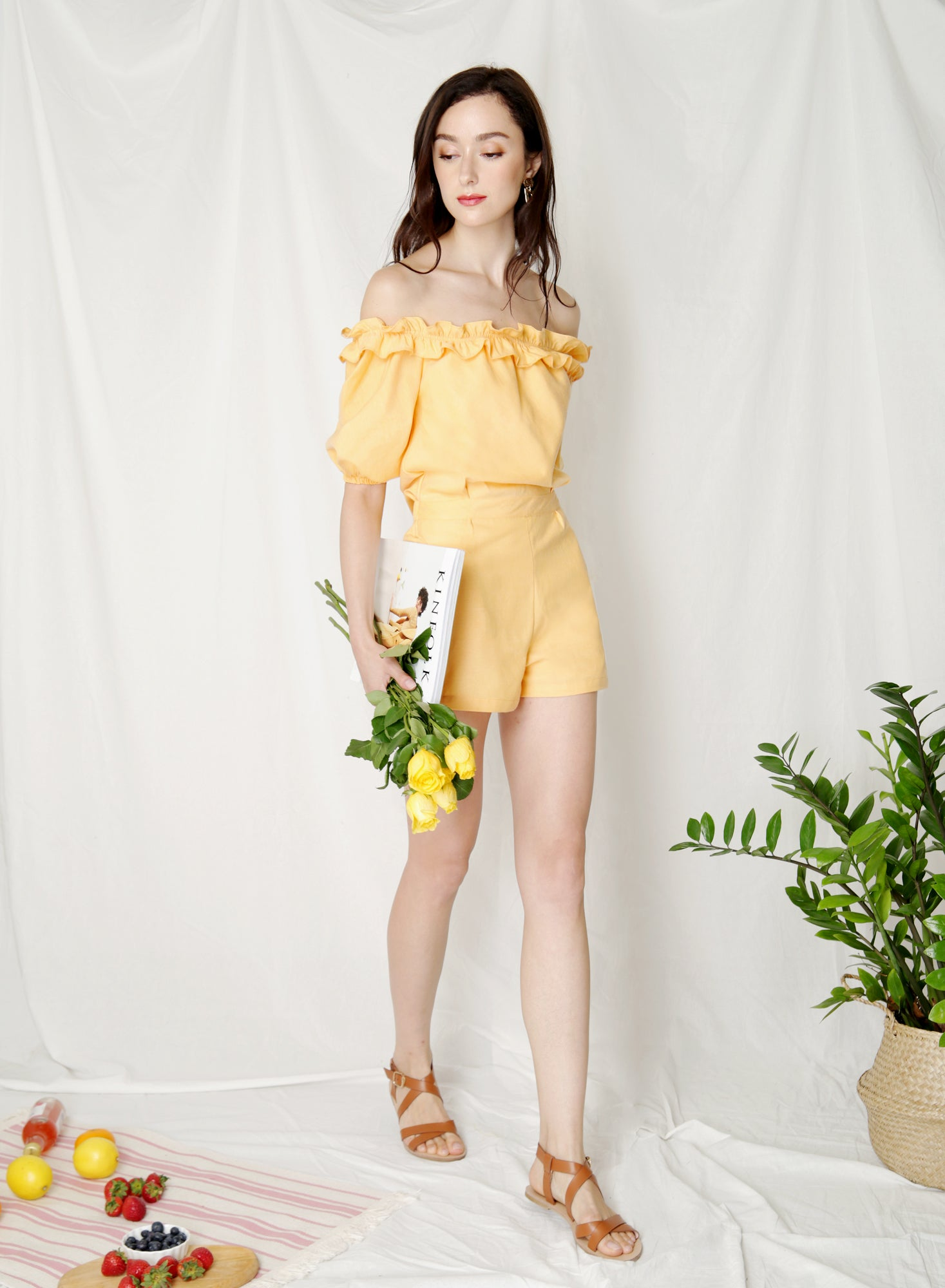 Kismet Off Shoulder Frill Romper (Canary)
