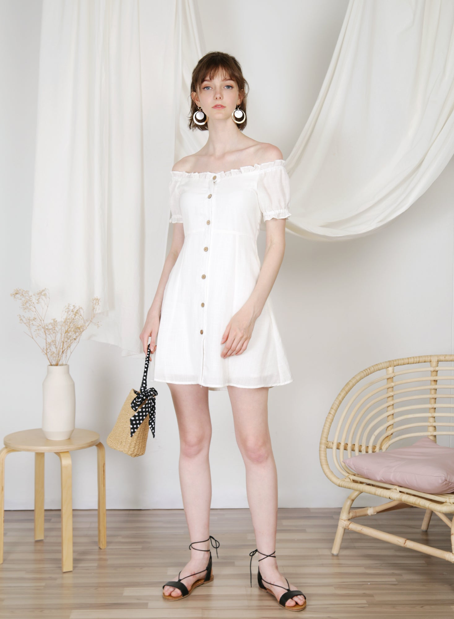 Jovial Off Shoulder Button Down Dress (White) at $ 45.00 only sold at And Well Dressed Online Fashion Store Singapore