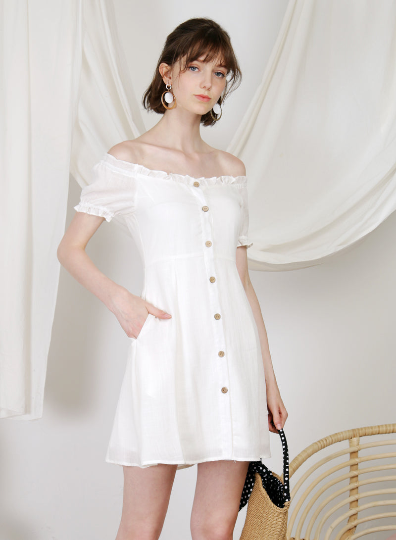 Jovial Off Shoulder Button Down Dress (White)