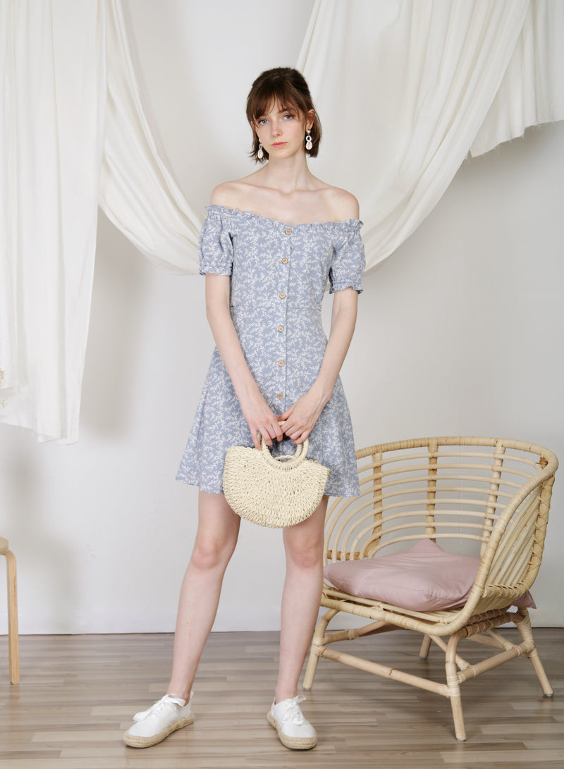 Jovial Off Shoulder Button Down Dress (Floral)