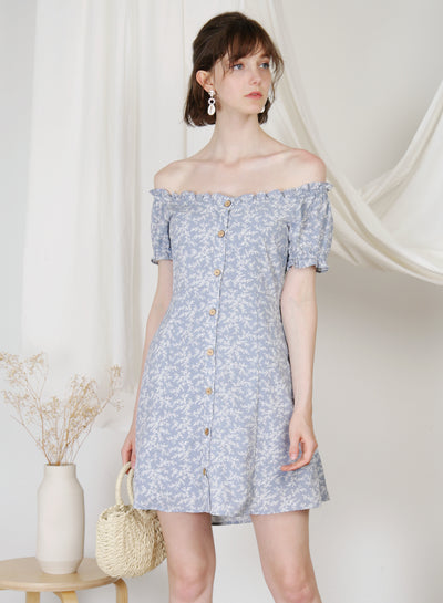 Jovial Off Shoulder Button Down Dress (Floral) at $ 45.00 only sold at And Well Dressed Online Fashion Store Singapore