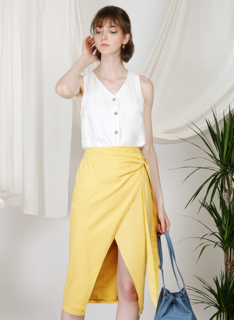 Beckon Linen Wrap Skirt (Sunshine)