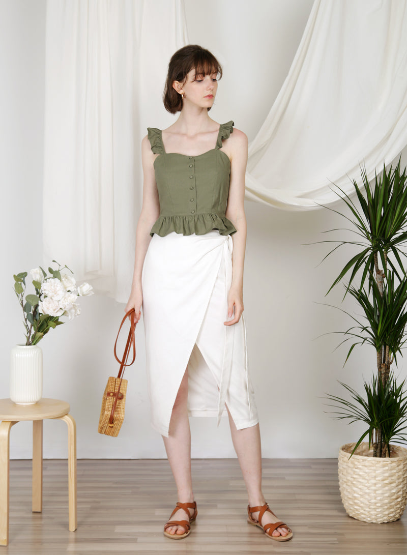 Beckon Linen Wrap Skirt (White)