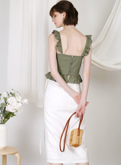 Beckon Linen Wrap Skirt (White) at $ 39.50 only sold at And Well Dressed Online Fashion Store Singapore