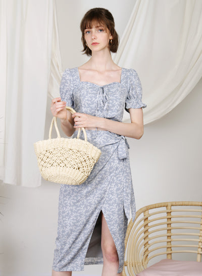 Beckon Linen Wrap Skirt (Floral) at $ 39.50 only sold at And Well Dressed Online Fashion Store Singapore