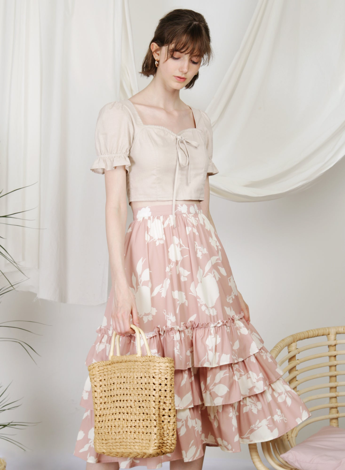 Dream Puff Sleeves Top (Oat) at $ 38.00 only sold at And Well Dressed Online Fashion Store Singapore