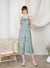 Enlighten Frill Hem Jumpsuit (Sage Leaves) at $ 46.00 only sold at And Well Dressed Online Fashion Store Singapore