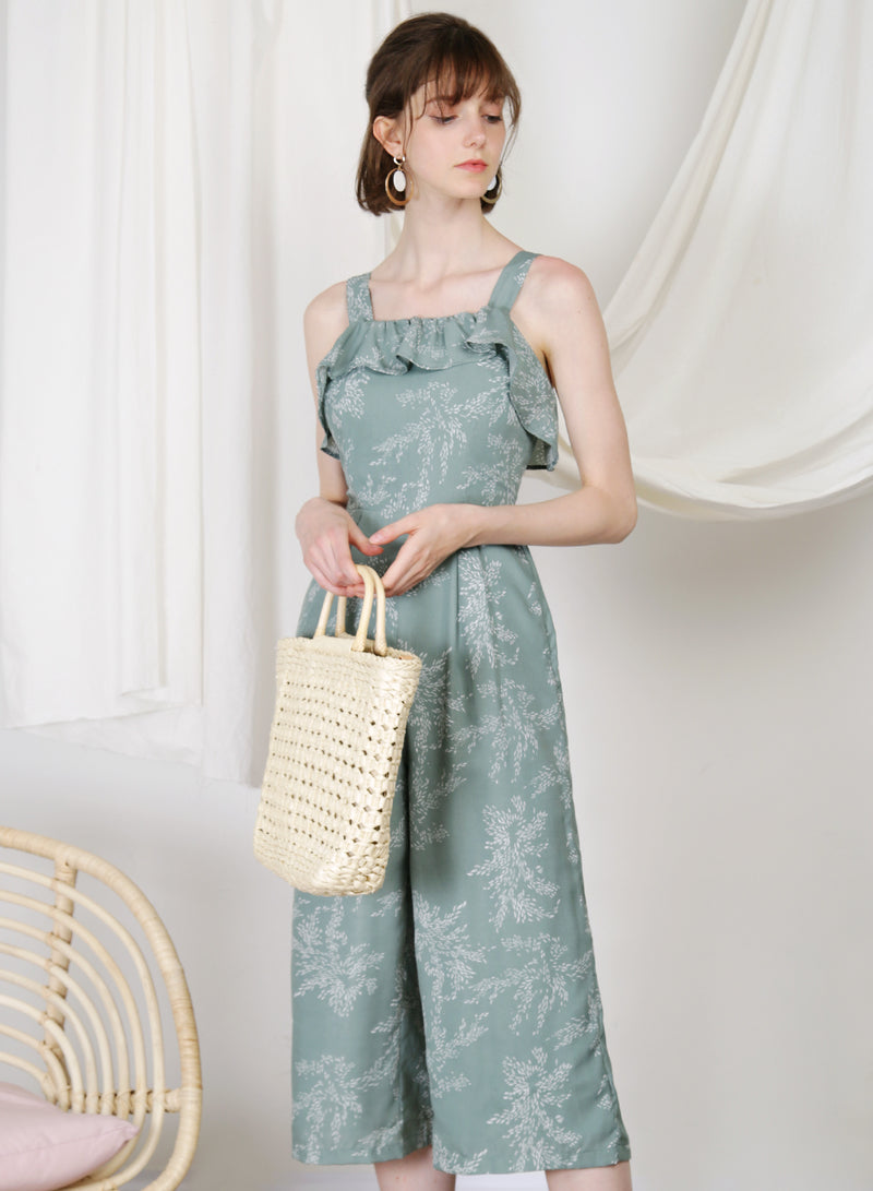 Enlighten Frill Hem Jumpsuit (Sage Leaves)