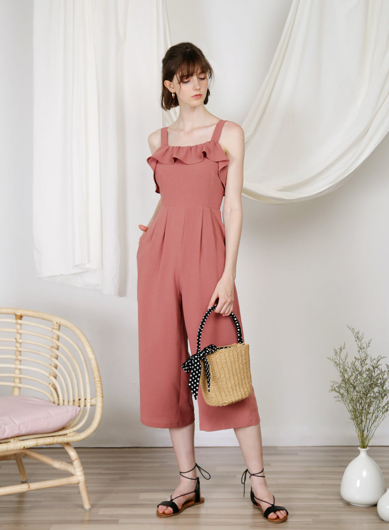 Enlighten Frill Hem Jumpsuit (Dusk Rose) at $ 46.00 only sold at And Well Dressed Online Fashion Store Singapore