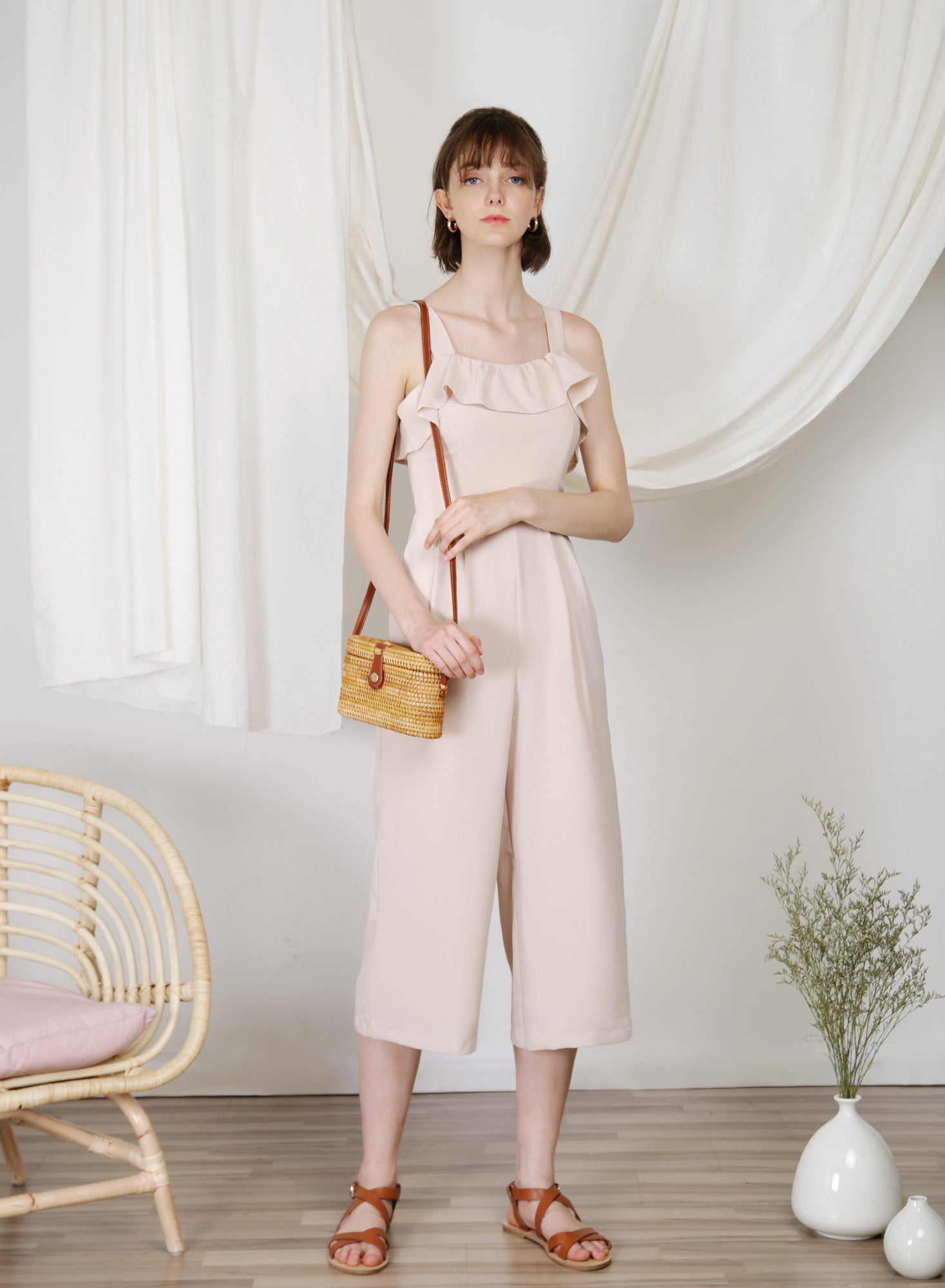 Enlighten Frill Hem Jumpsuit (Almond) at $ 46.00 only sold at And Well Dressed Online Fashion Store Singapore