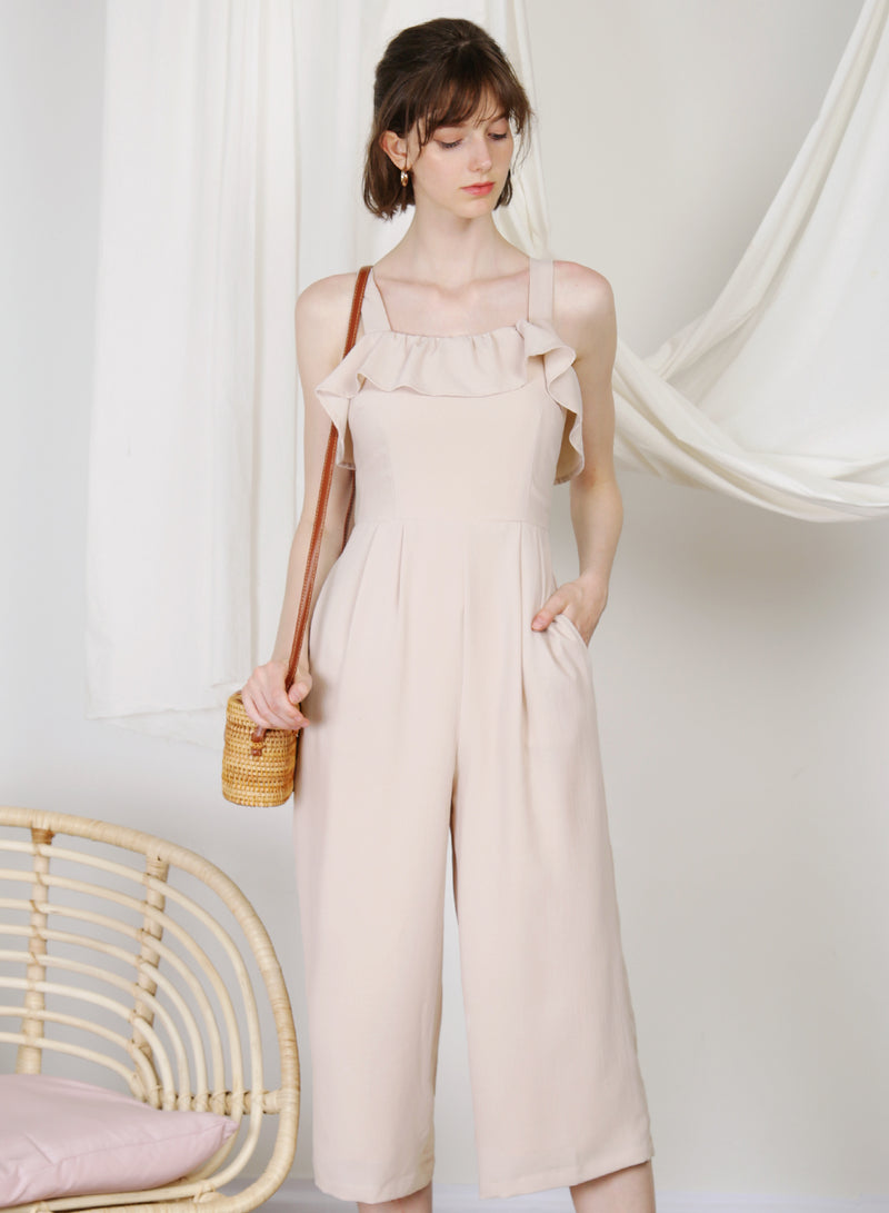 Enlighten Frill Hem Jumpsuit (Almond)