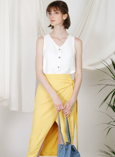 Hush Button Front Top (White) at $ 34.00 only sold at And Well Dressed Online Fashion Store Singapore