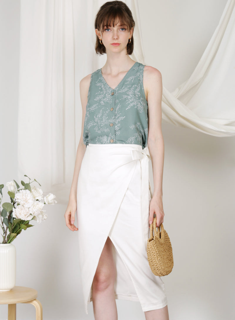 Hush Button Front Top (Sage Leaves) at $ 34.00 only sold at And Well Dressed Online Fashion Store Singapore