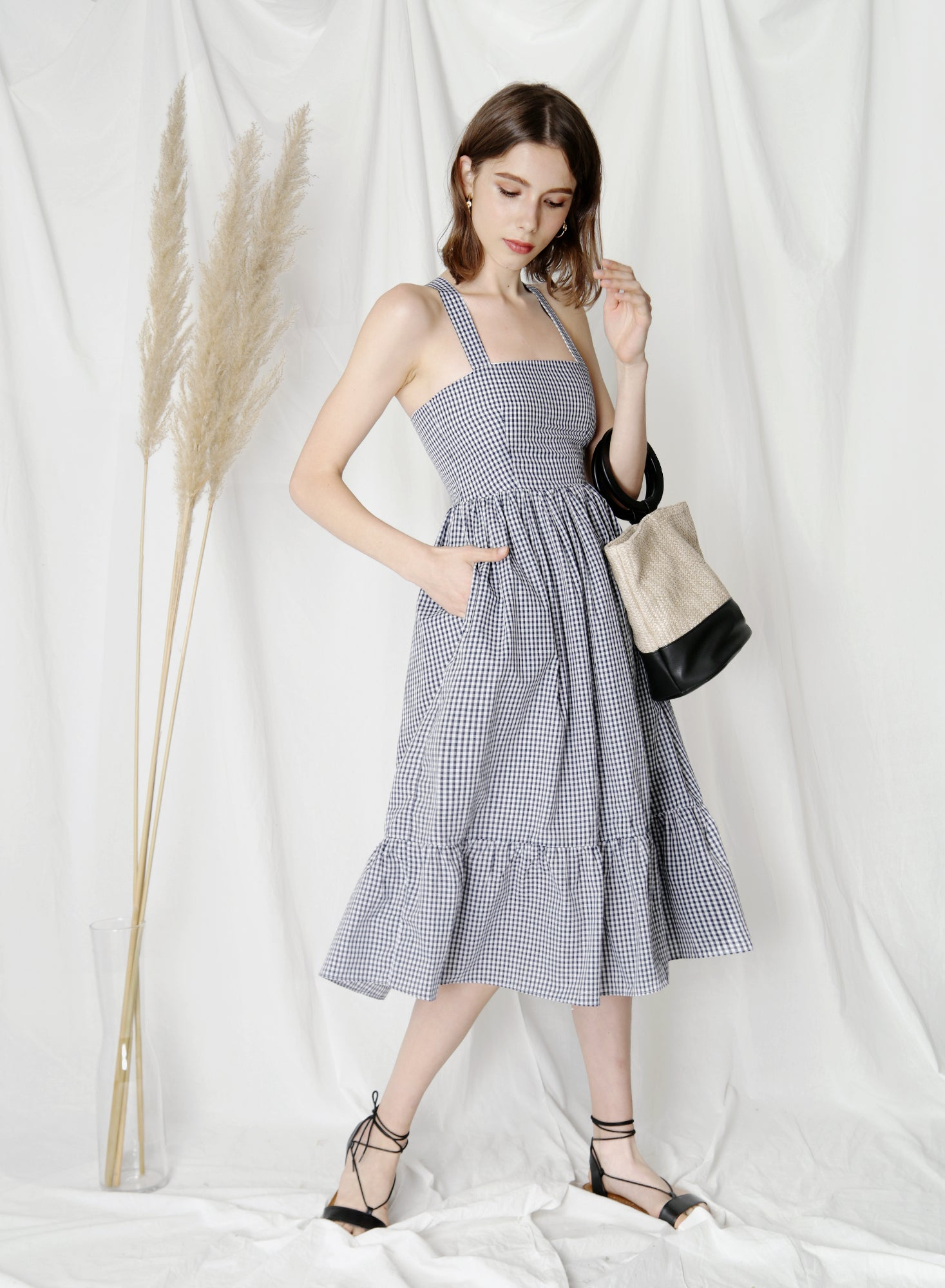 Fable Cross Back Midi Dress (Gingham) at $43.50 only sold at And Well Dressed Online Fashion Store Singapore