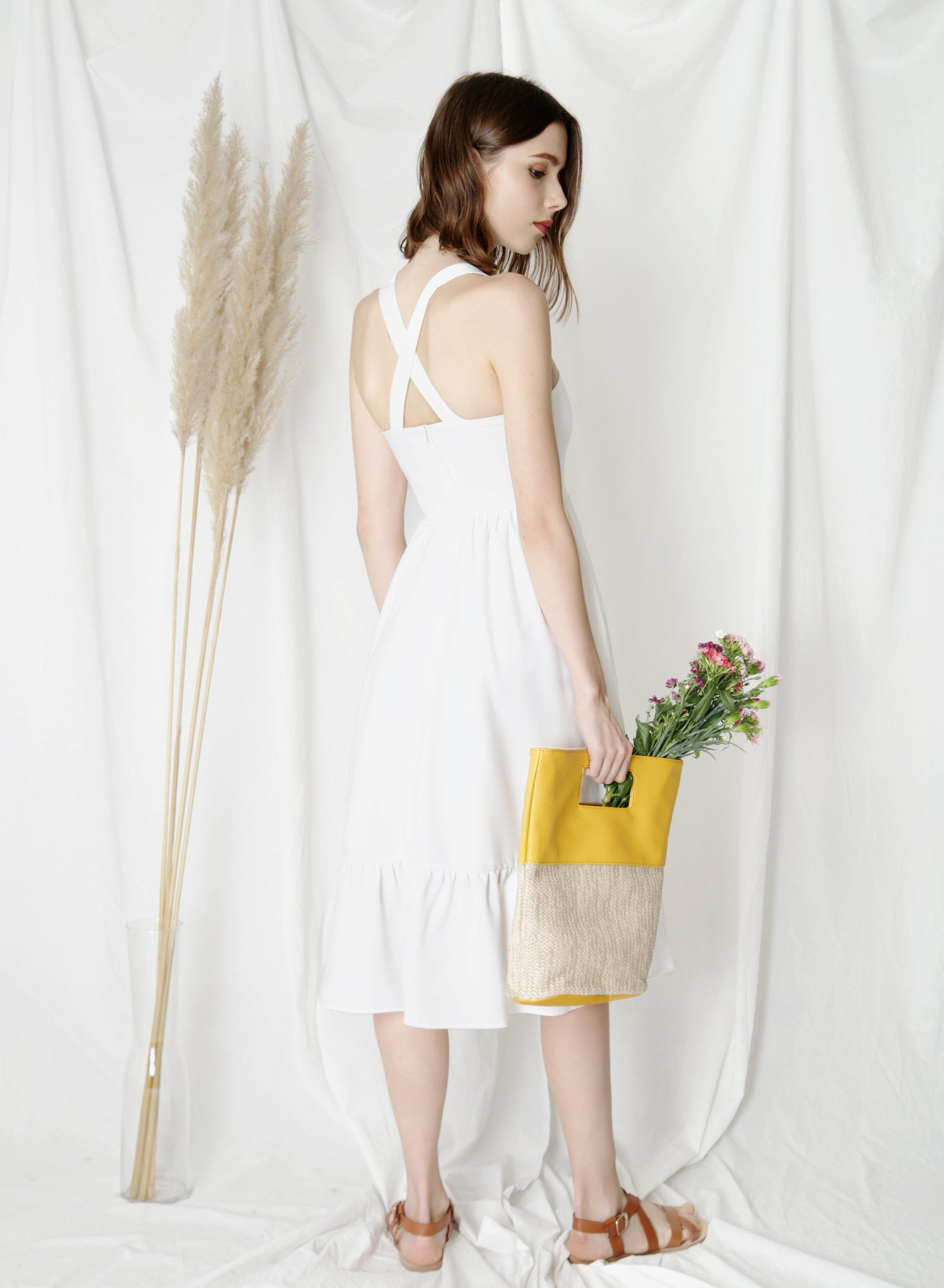 Fable Cross Back Midi Dress (White) at $43.50 only sold at And Well Dressed Online Fashion Store Singapore