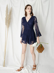 Blossom Flared Sleeves Lace Romper (Navy) at $ 43.50 only sold at And Well Dressed Online Fashion Store Singapore