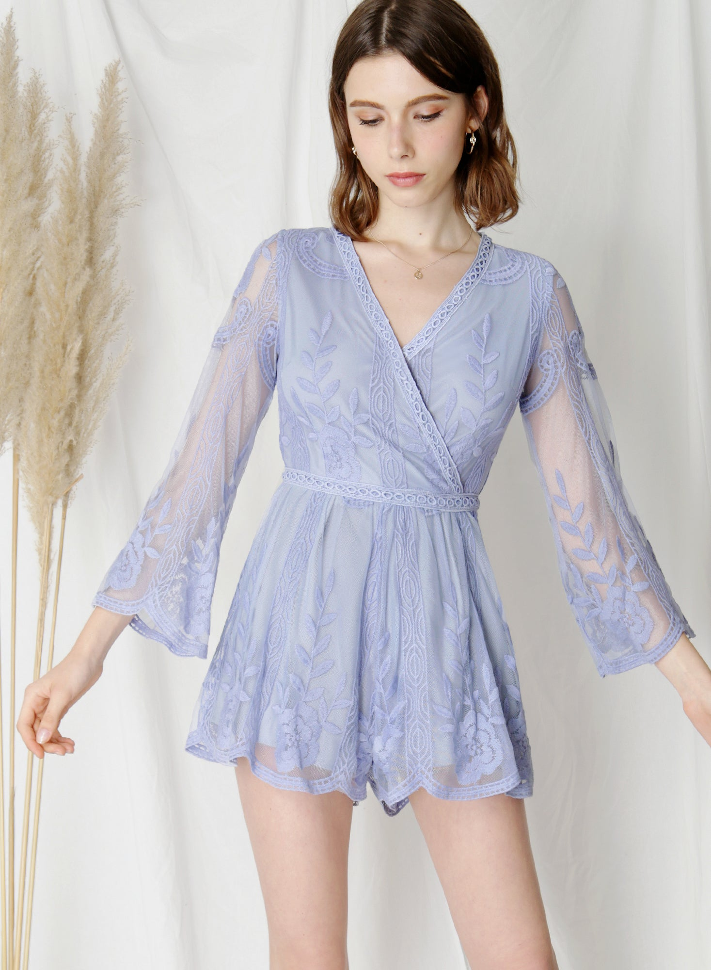 Blossom Flared Sleeves Lace Romper (Periwinkle) at $43.50 only sold at And Well Dressed Online Fashion Store Singapore