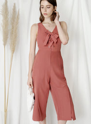 Skylight Lace Up Front Jumpsuit (Terracotta) at $ 41.50 only sold at And Well Dressed Online Fashion Store Singapore