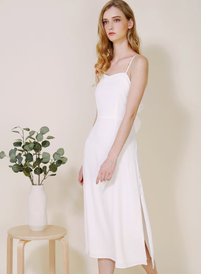 Embrace Button Sides Dress (White) at $ 45.00 only sold at And Well Dressed Online Fashion Store Singapore