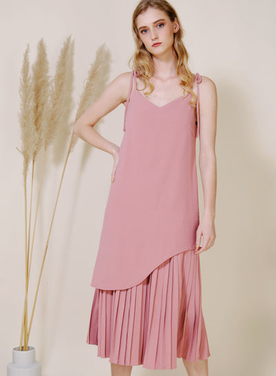 Aura Curved Hem Pleated Maxi Dress (Rose)