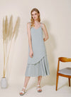 Aura Curved Hem Pleated Maxi Dress (Jade) at $ 48.00 only sold at And Well Dressed Online Fashion Store Singapore