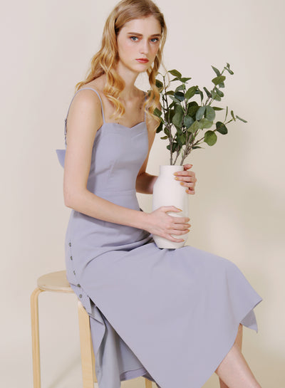 Embrace Button Sides Dress (Lilac Grey) at $ 45.00 only sold at And Well Dressed Online Fashion Store Singapore