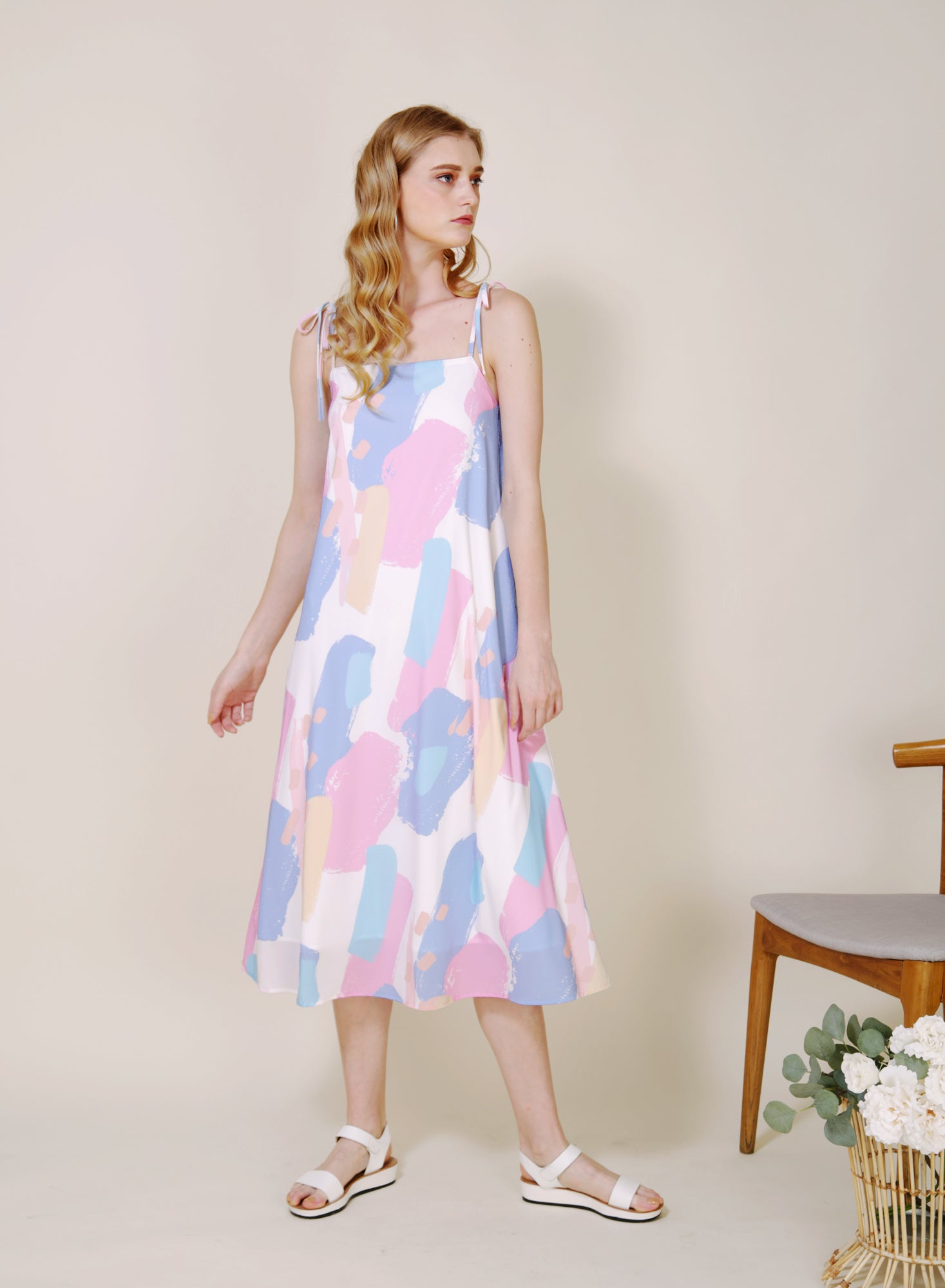 Elixir Tie Straps Brush Print Dress (Bright)