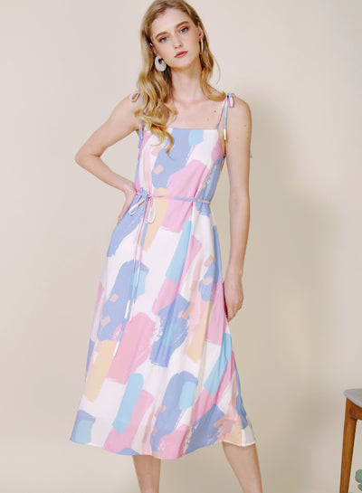 Elixir Tie Straps Brush Print Dress (Bright) at $ 44.50 only sold at And Well Dressed Online Fashion Store Singapore
