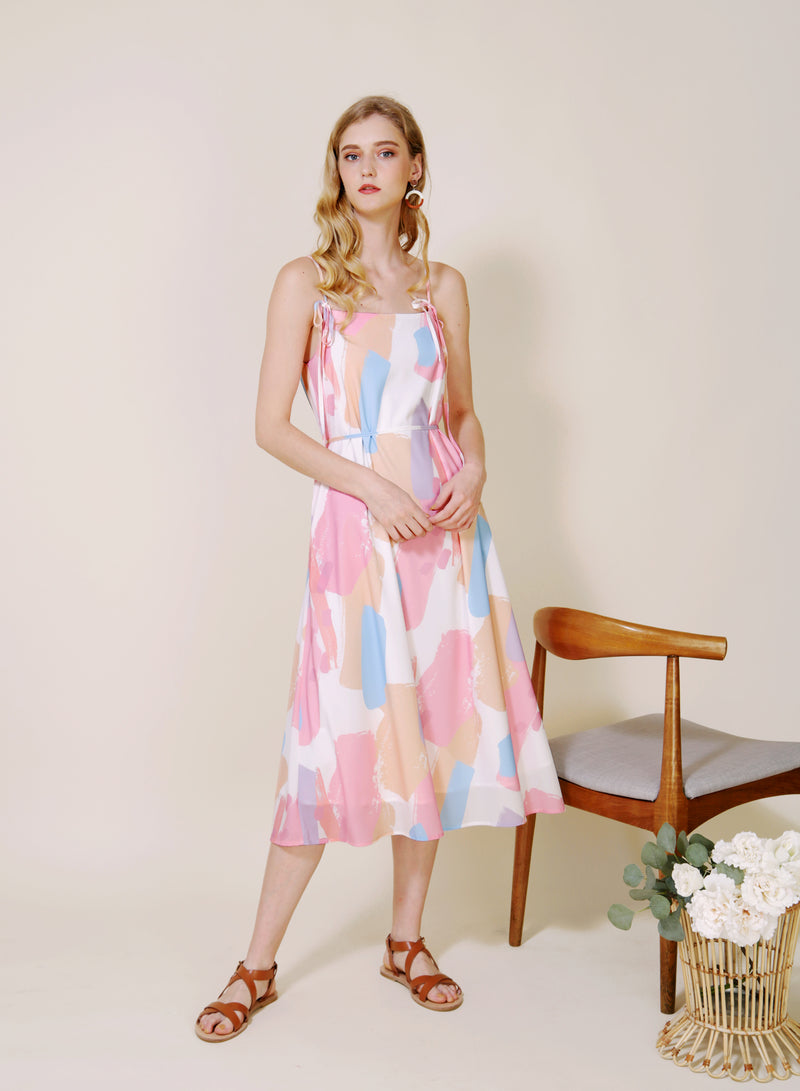 Elixir Tie Straps Brush Print Dress (Warm) at $ 44.50 only sold at And Well Dressed Online Fashion Store Singapore